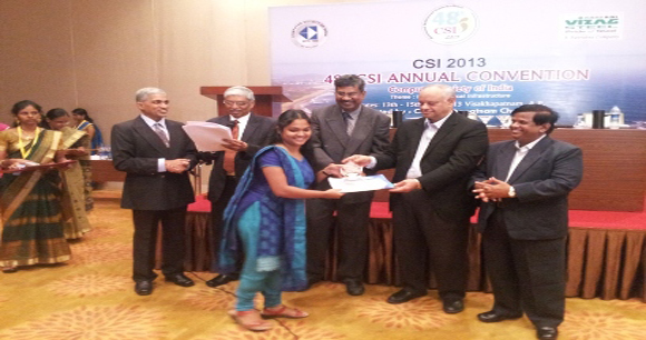"Ms.V  Ashritha Santoshi , Alumni of CSE, ANITS has been awarded the CSI ""HIGHEST COMMITTED STUDENT ACTIVIST"" award"